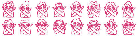 "Cartoon illustration of cool gender nonspecific people holding their arms across their chest to say ""no!"""